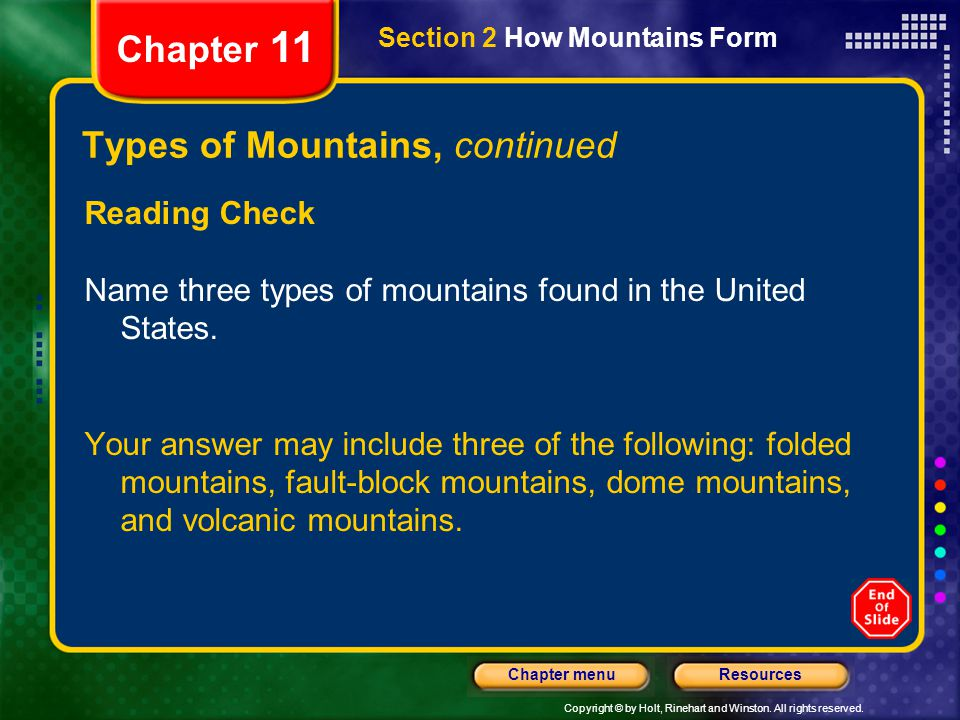 Types of Mountains, continued