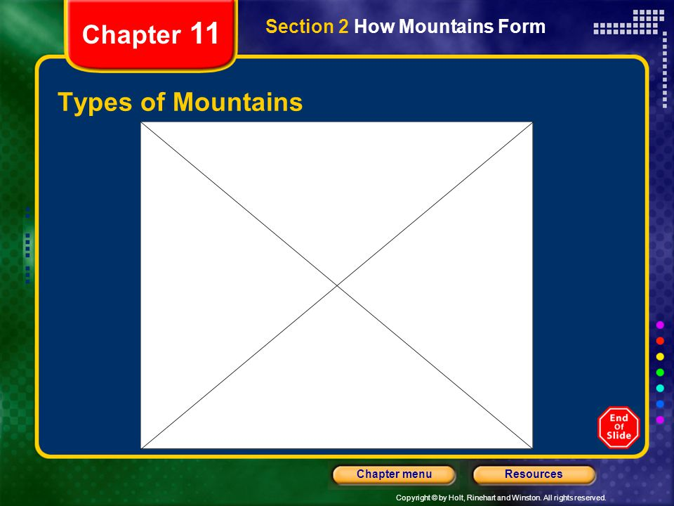 Chapter 11 Section 2 How Mountains Form Types of Mountains