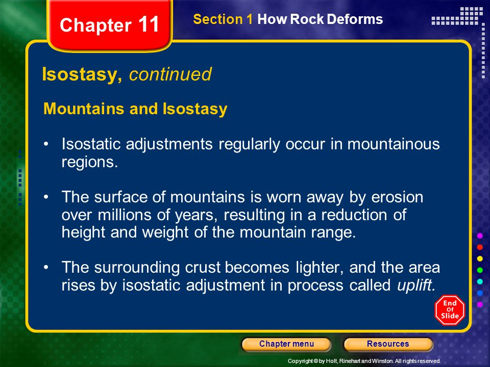 Chapter 11 Isostasy, continued Mountains and Isostasy