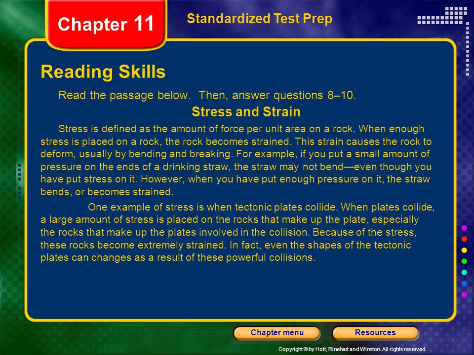Chapter 11 Reading Skills Standardized Test Prep Stress and Strain