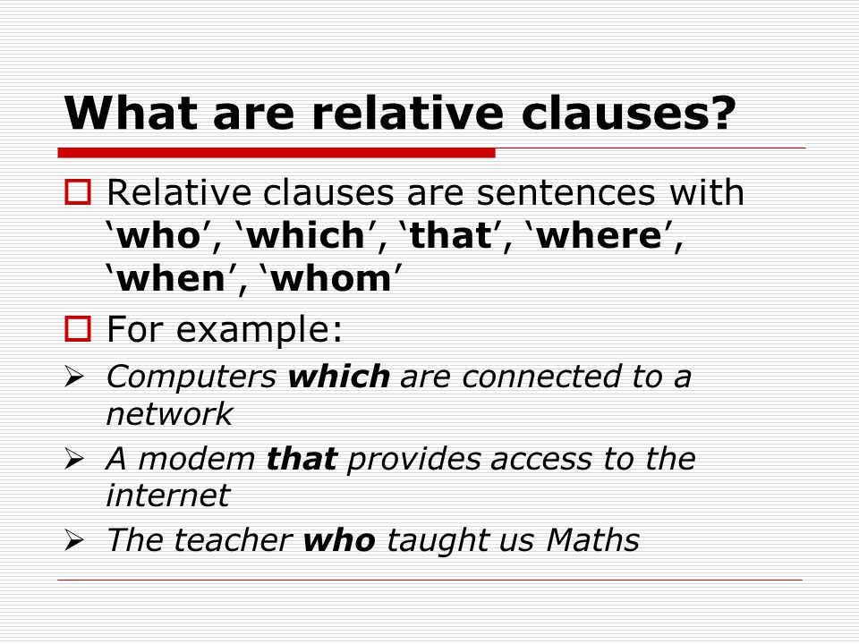 What are relative clauses