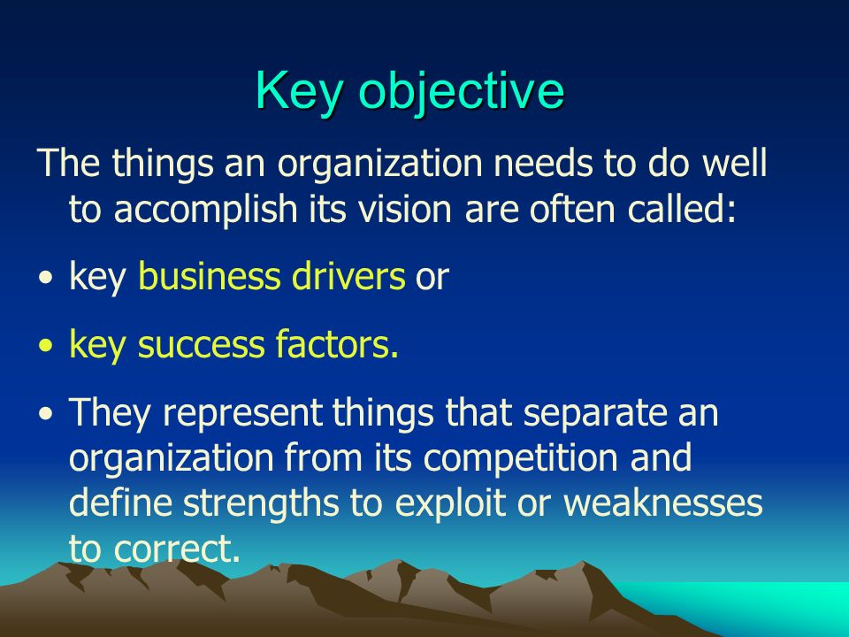 Key objective The things an organization needs to do well to accomplish its vision are often called: