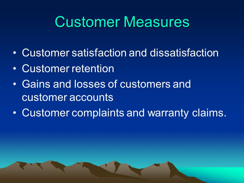 Customer Measures Customer satisfaction and dissatisfaction