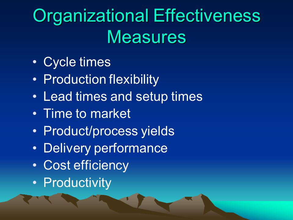 Organizational Effectiveness Measures