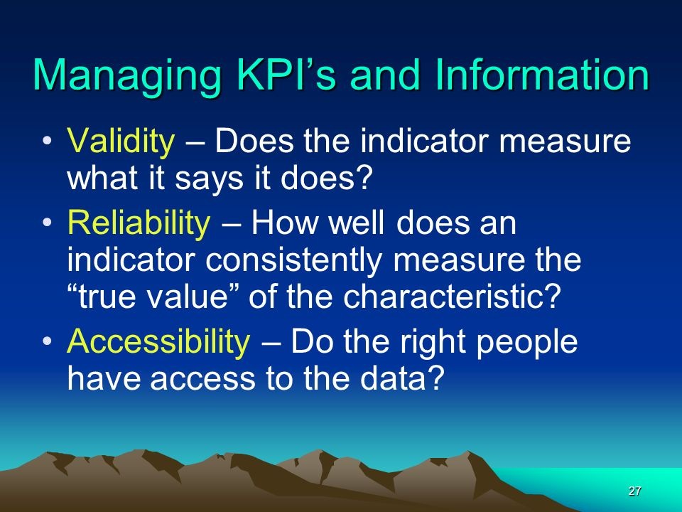 Managing KPI's and Information