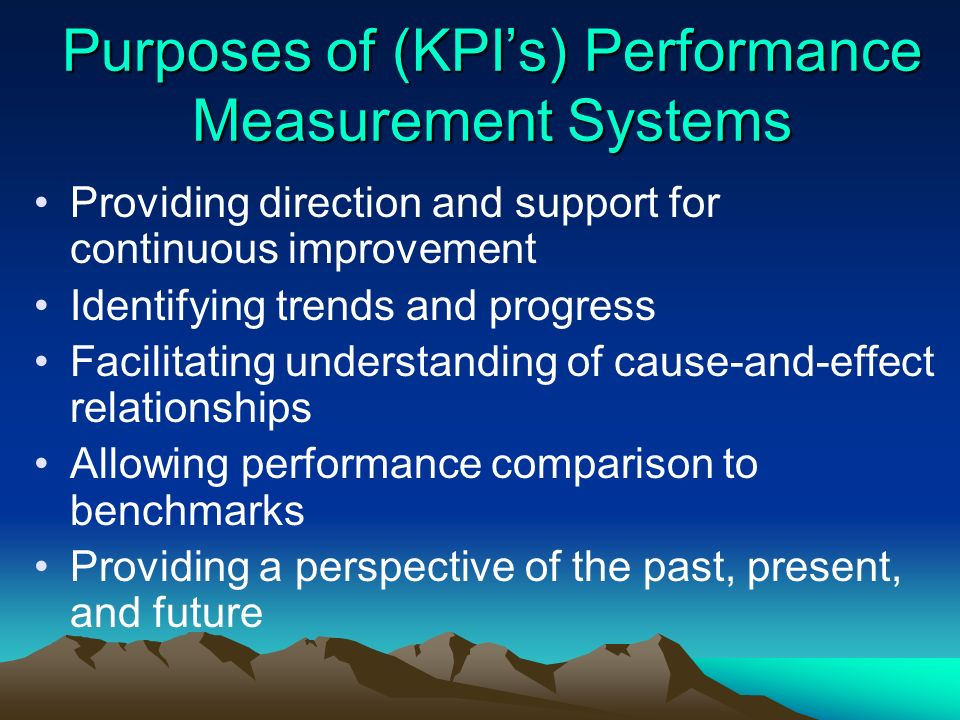 Purposes of (KPI's) Performance Measurement Systems