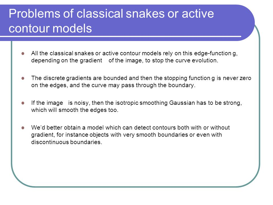 Problems of classical snakes or active contour models