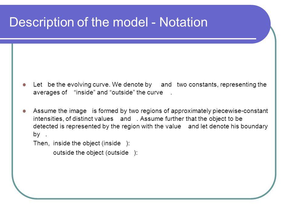 Description of the model - Notation