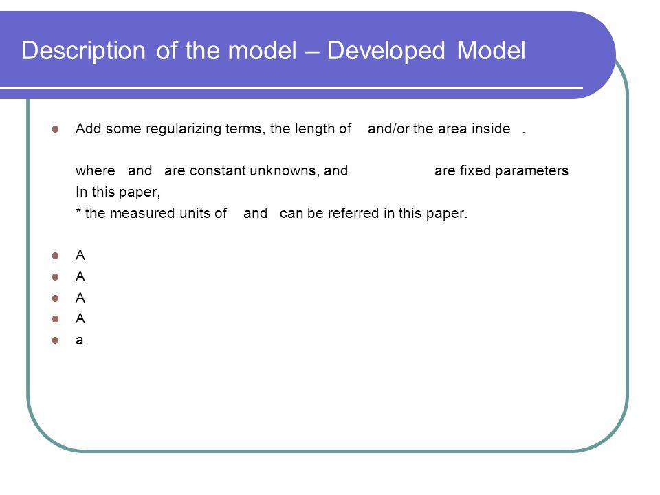 Description of the model – Developed Model