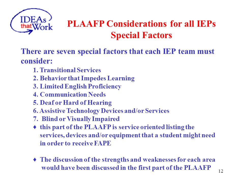 PLAAFP Considerations for all IEPs Weaknesses of the Student