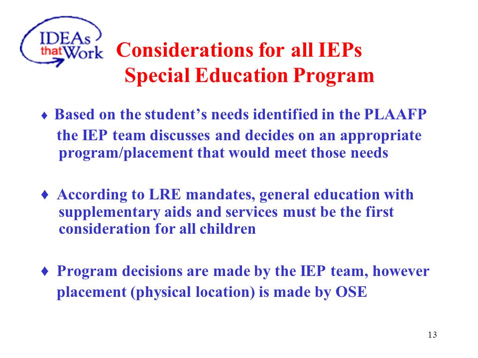PLAAFP Considerations for all IEPs
