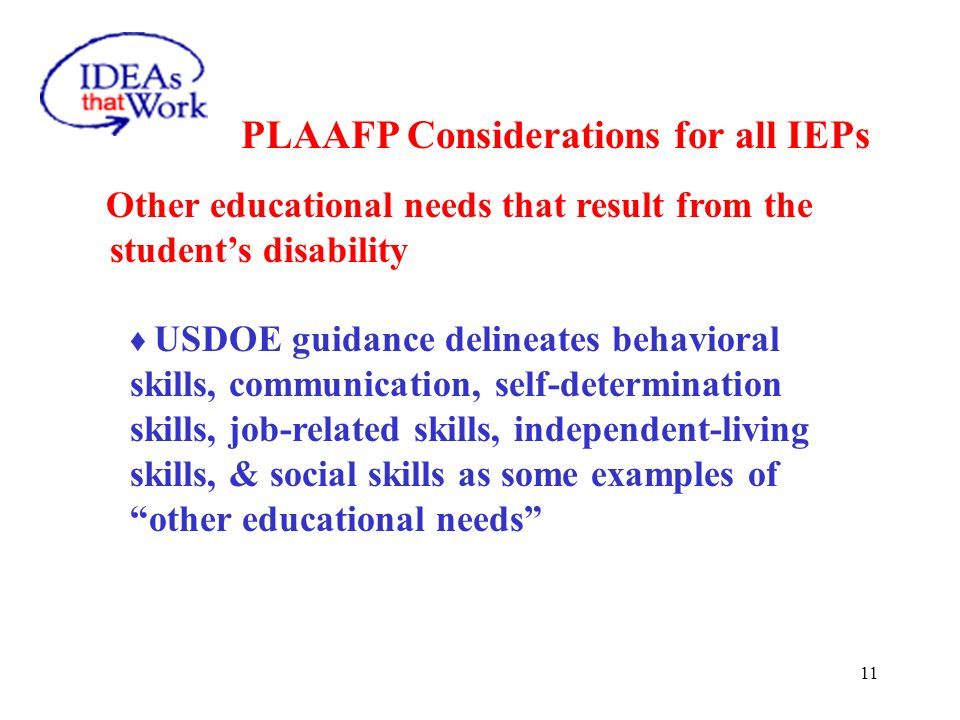 PLAAFP Considerations for all IEPs Strengths of the Student