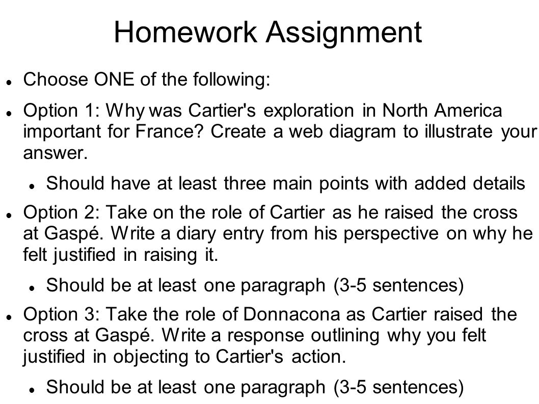 Homework Assignment Choose ONE of the following: