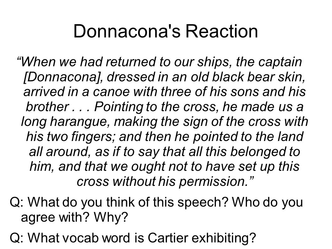 Donnacona s Reaction