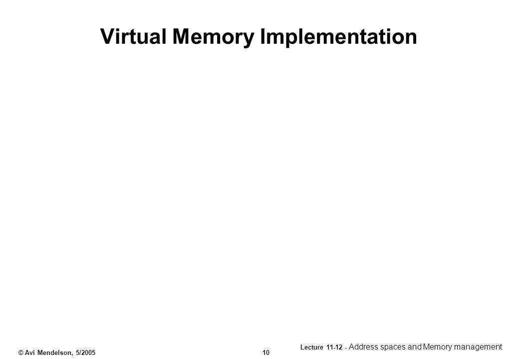 Virtual Memory Implementation