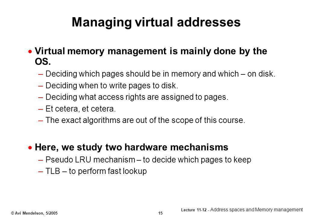 Managing virtual addresses