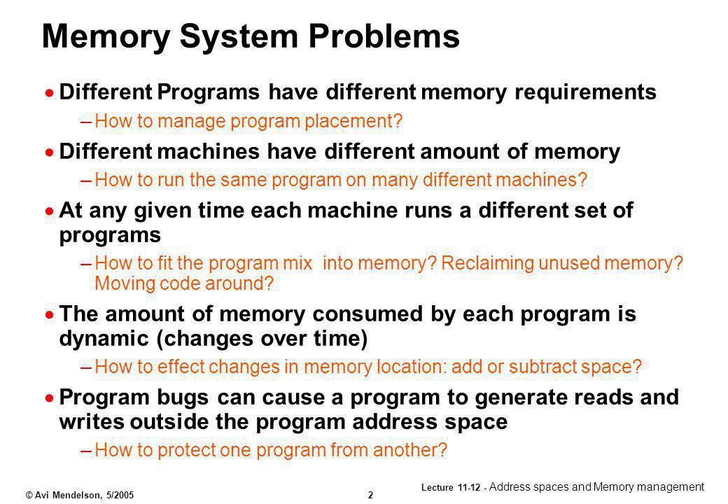 Memory System Problems