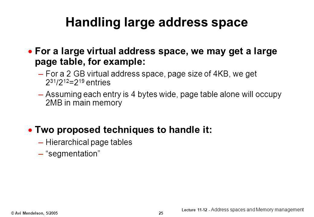 Handling large address space