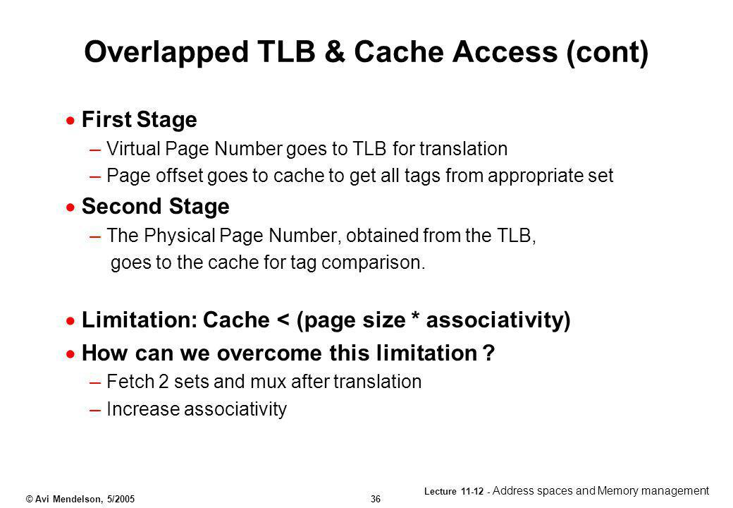Overlapped TLB & Cache Access (cont)