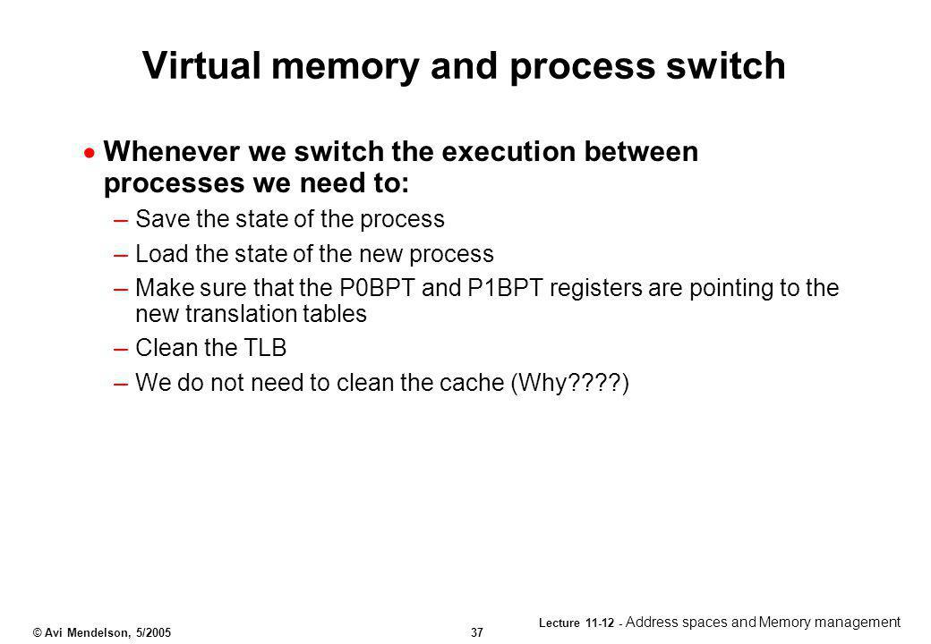 Virtual memory and process switch