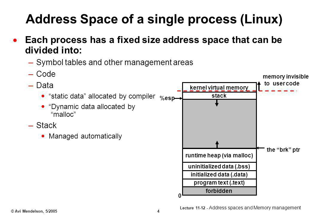 Address Space of a single process (Linux)