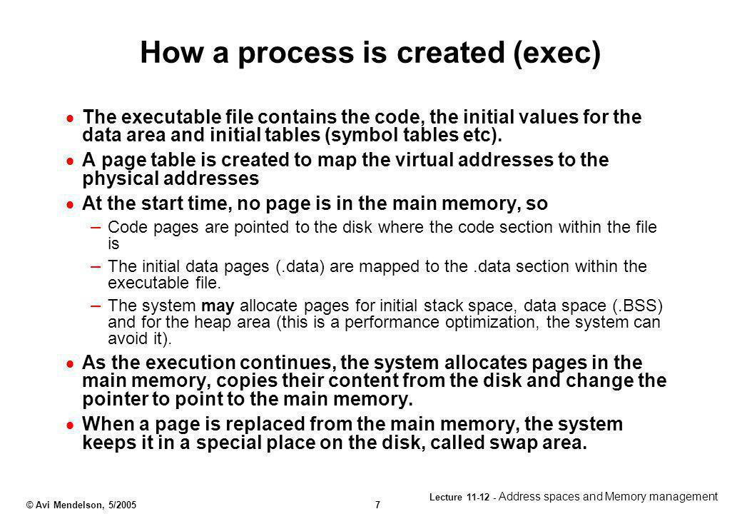 How a process is created (exec)