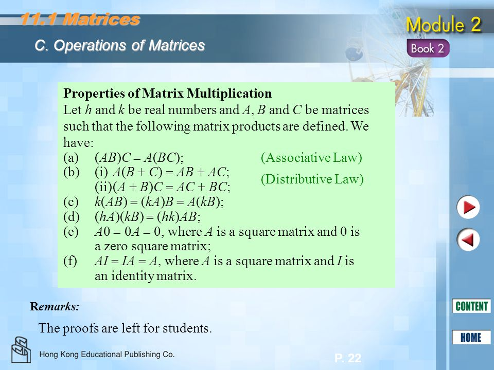 11.1 Matrices C. Operations of Matrices