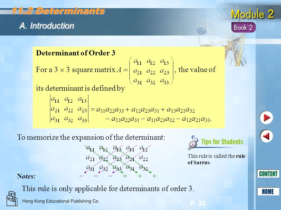 11.2 Determinants A. Introduction Determinant of Order 3