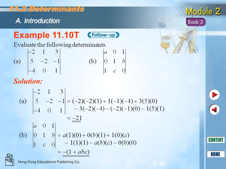 Example 11.10T 11.2 Determinants Solution: A. Introduction