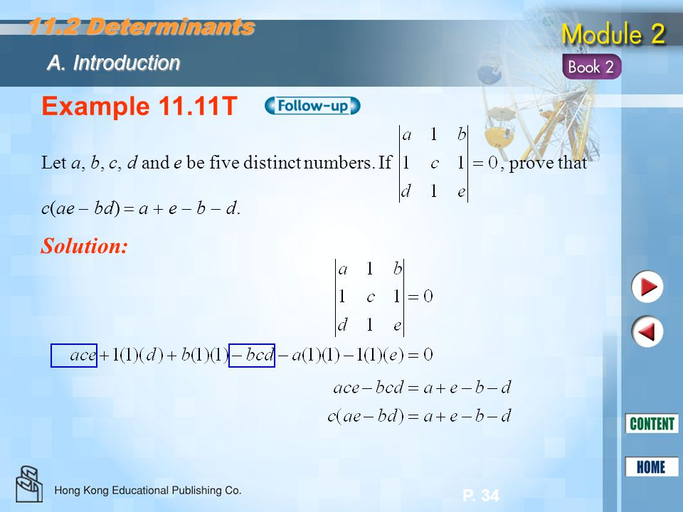 Example 11.11T 11.2 Determinants Solution: A. Introduction