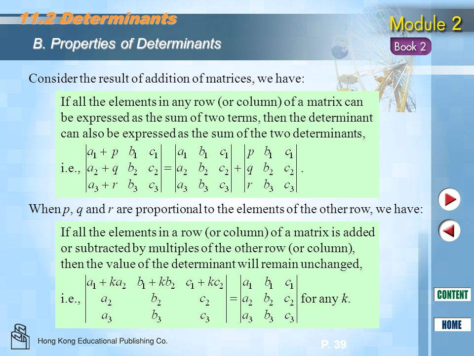 11.2 Determinants B. Properties of Determinants