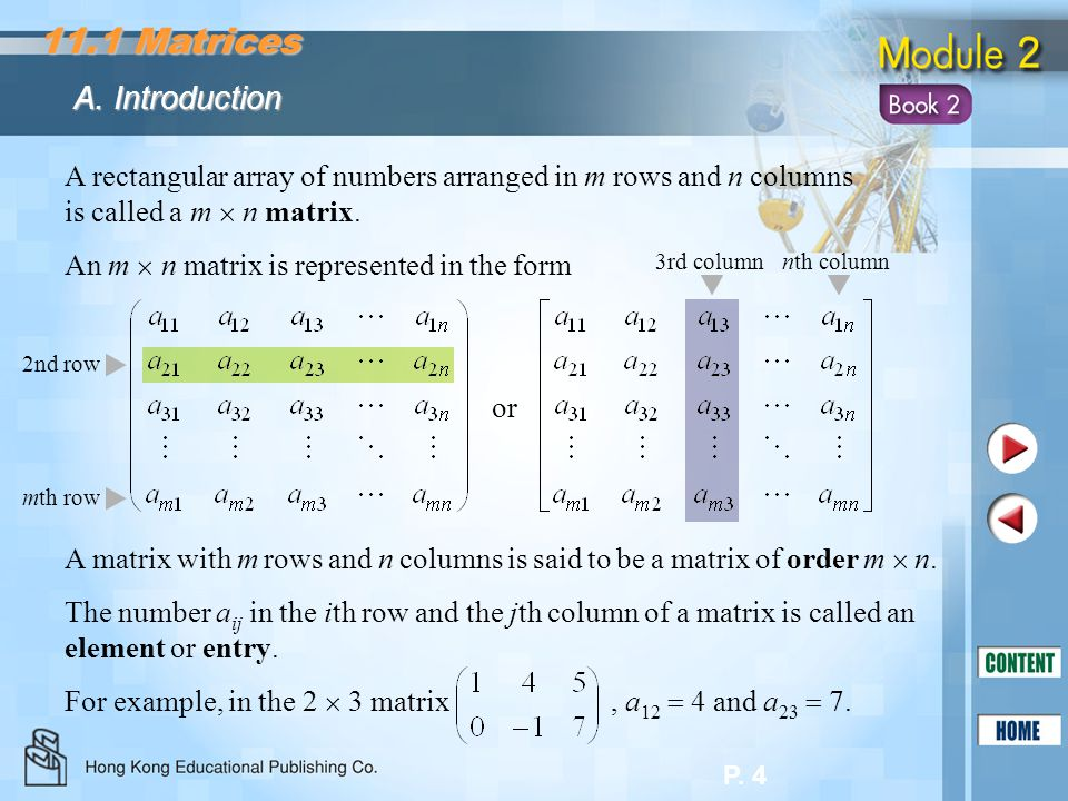 11.1 Matrices A. Introduction