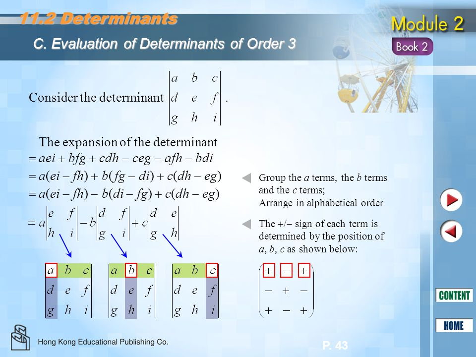 11.2 Determinants C. Evaluation of Determinants of Order 3
