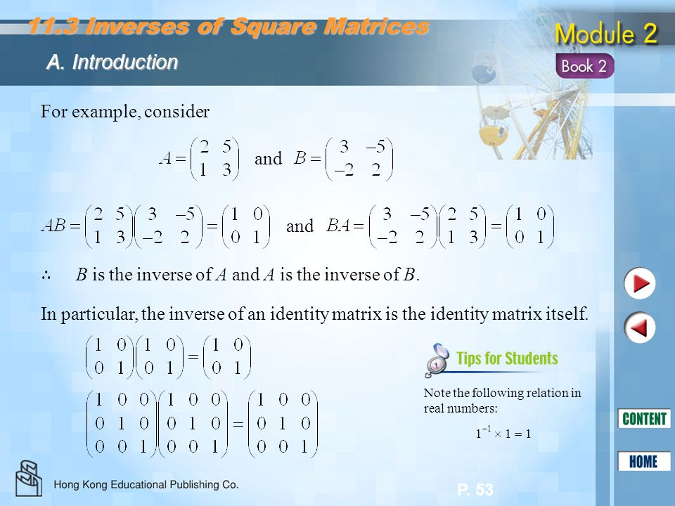 11.3 Inverses of Square Matrices