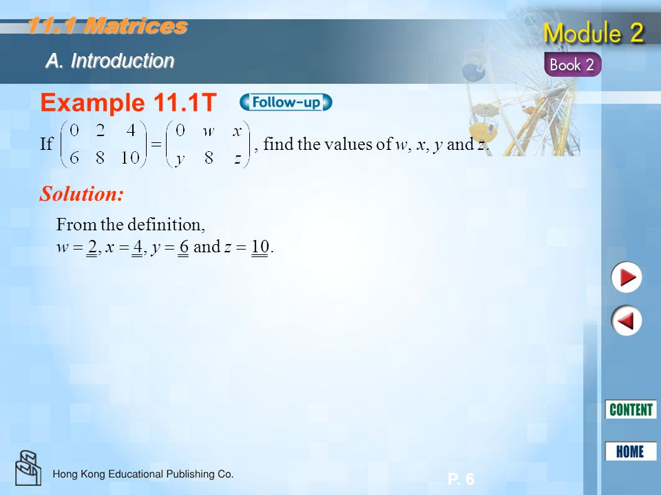 Example 11.1T 11.1 Matrices Solution: A. Introduction