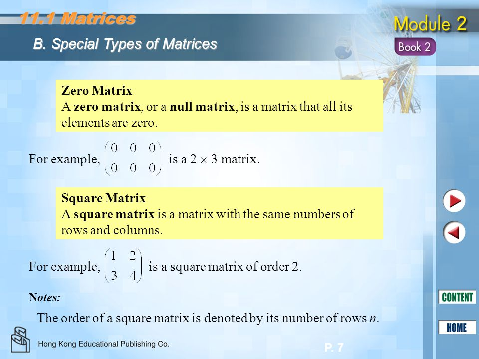 11.1 Matrices B. Special Types of Matrices Zero Matrix