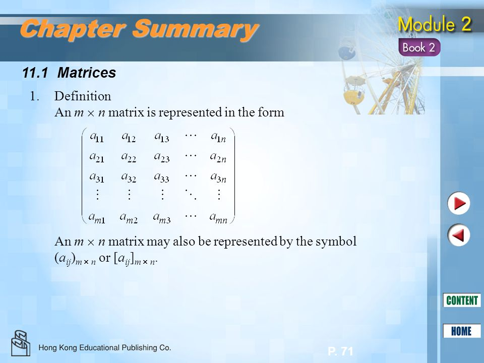 Chapter Summary 11.1 Matrices 1. Definition