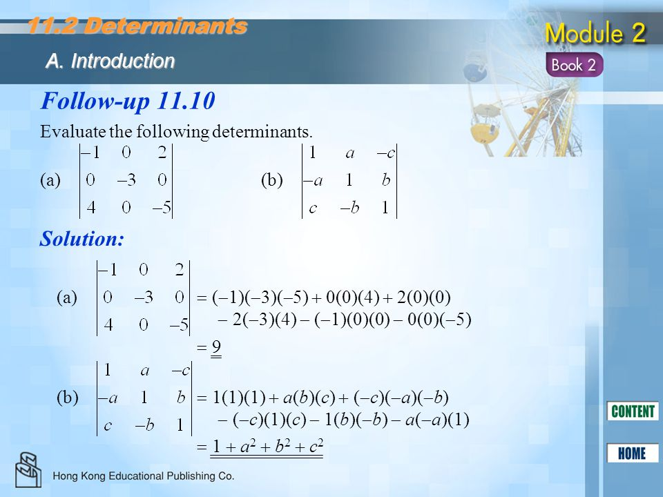 Follow-up 11.10 11.2 Determinants Solution: A. Introduction