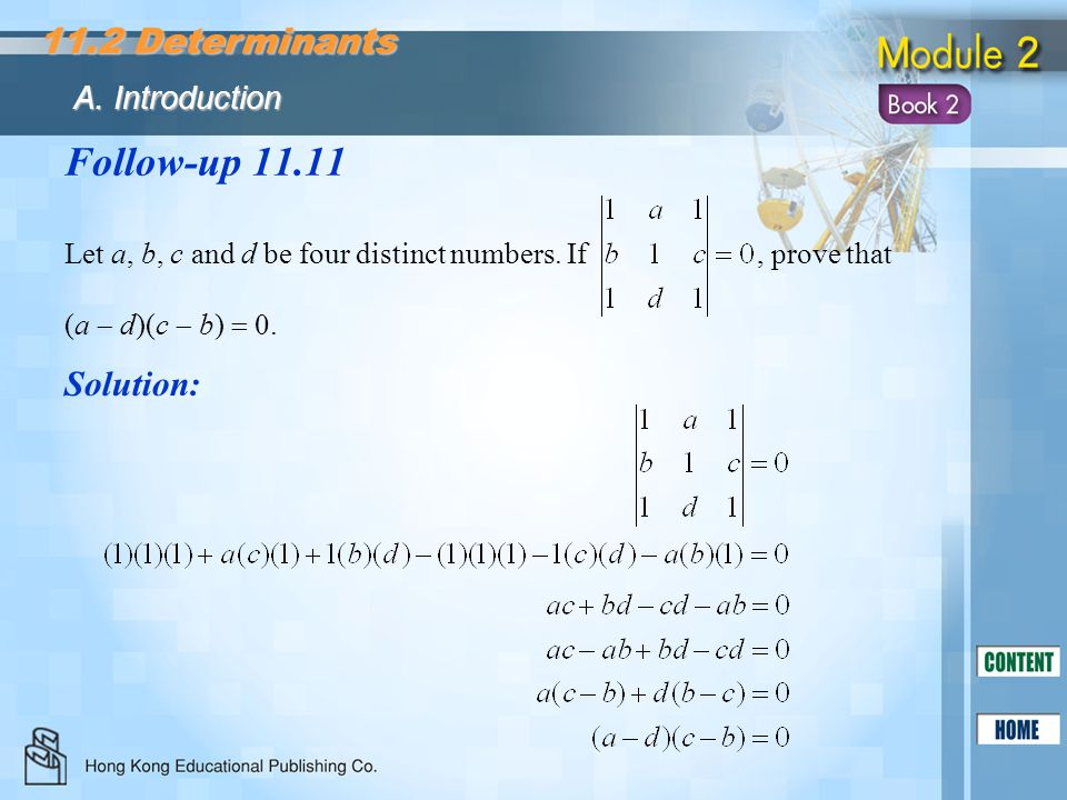 Follow-up 11.11 11.2 Determinants Solution: A. Introduction
