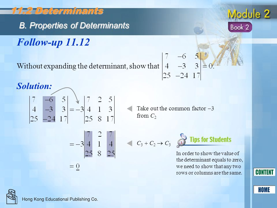 Follow-up 11.12 11.2 Determinants Solution: