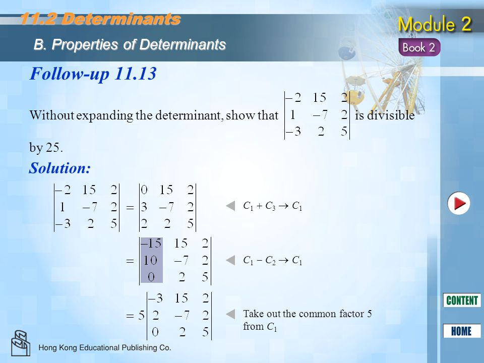 Follow-up 11.13 11.2 Determinants Solution: