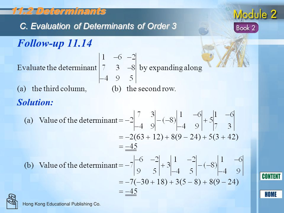 Follow-up 11.14 11.2 Determinants Solution:
