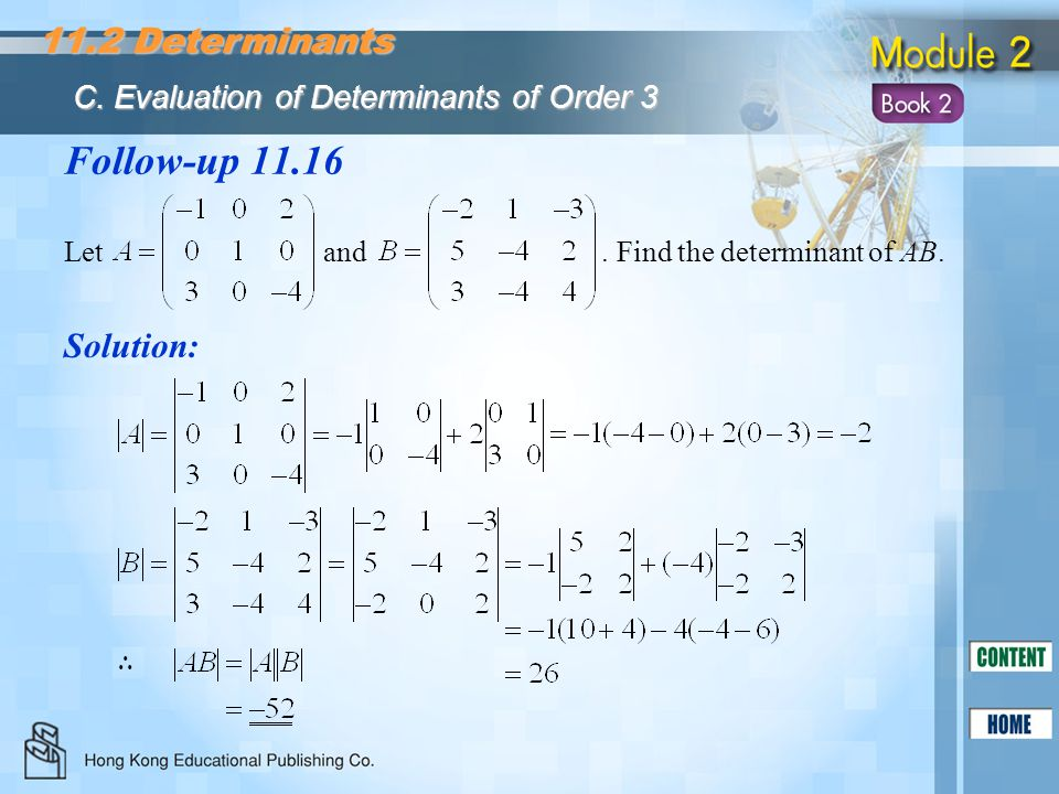 Follow-up 11.16 11.2 Determinants Solution: