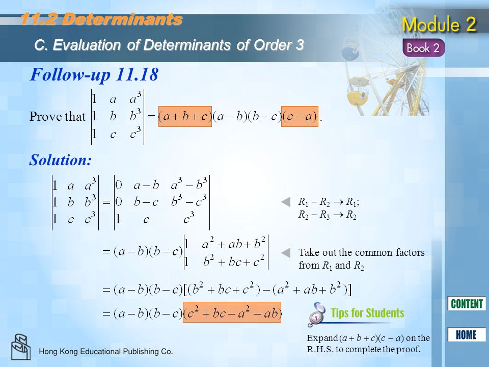 Follow-up 11.18 11.2 Determinants Solution:
