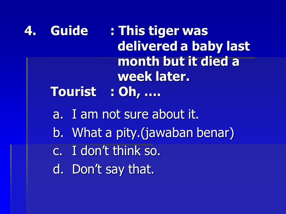 Guide. : This tiger was. delivered a baby last. month but it died a