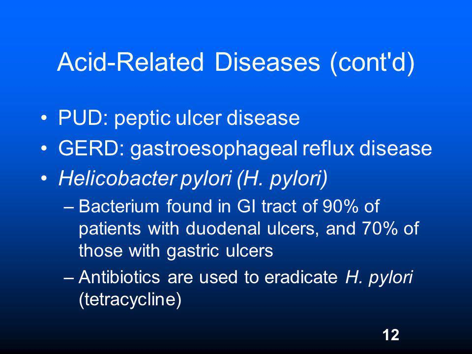Acid-Related Diseases (cont d)
