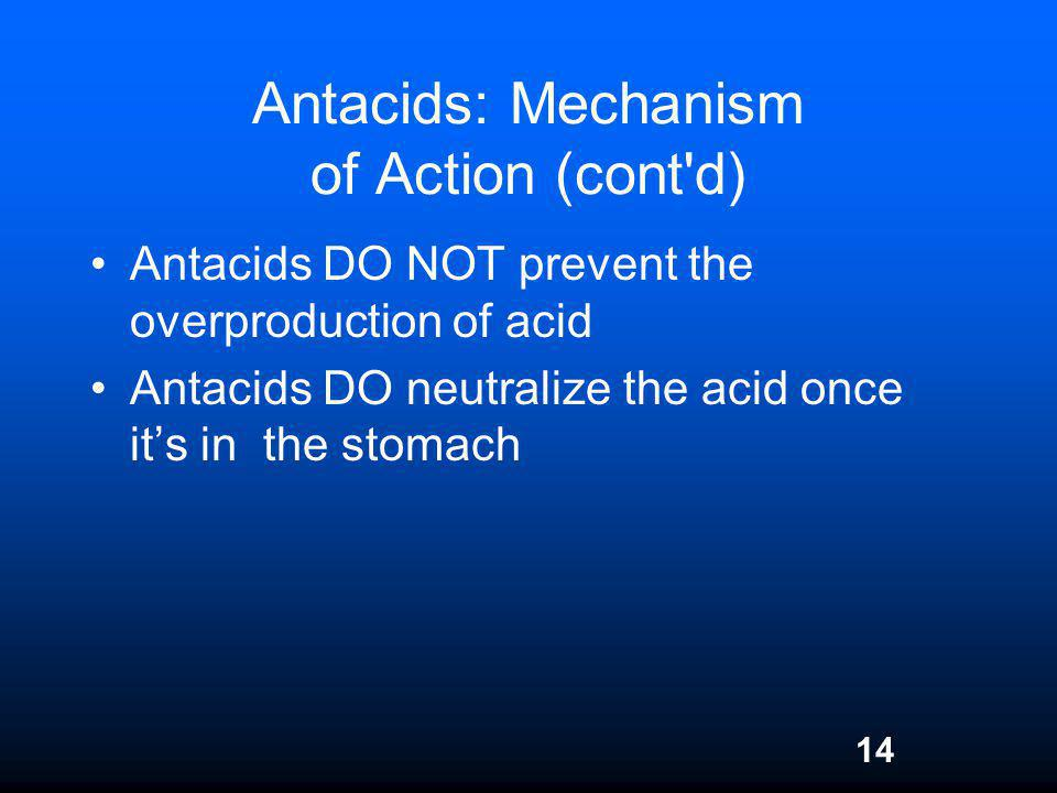 Antacids: Mechanism of Action (cont d)