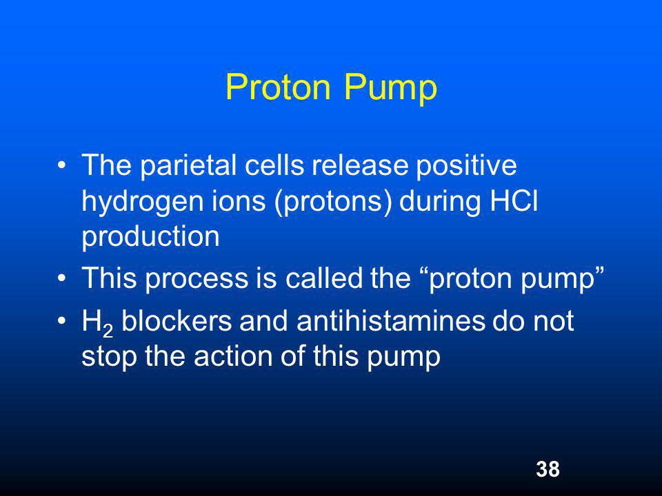 Proton Pump The parietal cells release positive hydrogen ions (protons) during HCl production. This process is called the proton pump