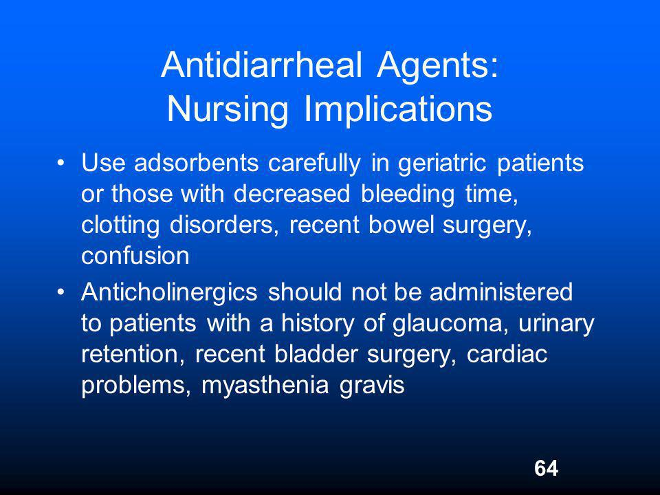 Antidiarrheal Agents: Nursing Implications