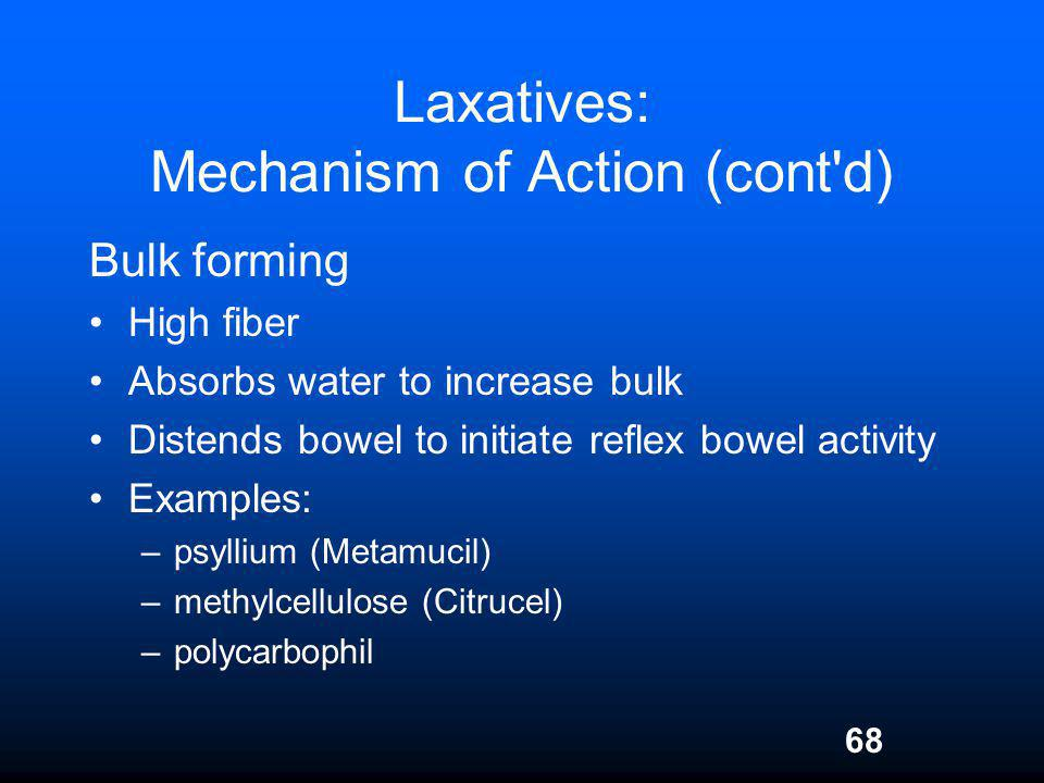 Laxatives: Mechanism of Action (cont d)